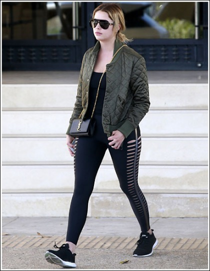 Ashley Benson Shows Off Her Sexy Legs And Groovy Curves In Skin-Tight Leggings