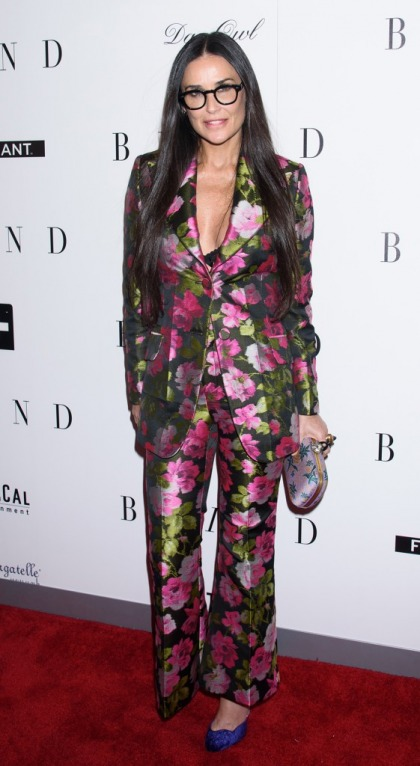 Demi Moore in a floral print Gucci suit: lovely or 80s couch print?