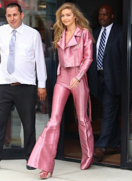 Gigi Hadid wore a millennial pink Kreist leather suit: love it or hate it?
