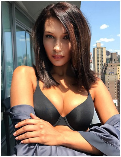 Bella Hadid Busts Out Her Massive Cleavage In A Sexy Bra