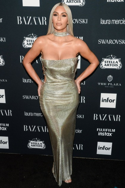 Kim Kardashian in Versace at the Bazaar 'Icons' event: struggling or fabulous'