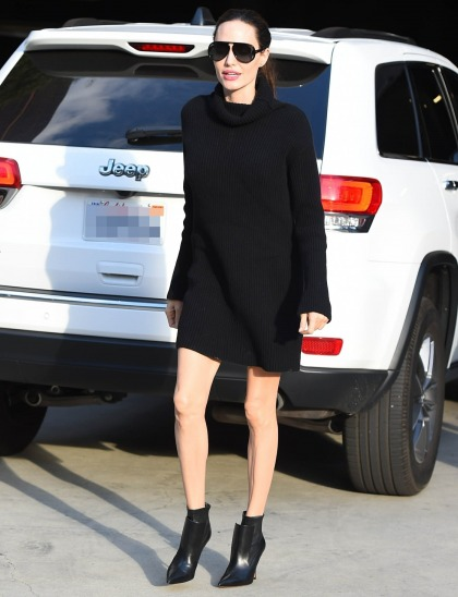 Angelina Jolie in a sweater dress & ankle booties: super-cute or not so much?