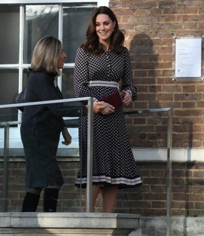 Duchess Kate was keen to be seen in polka-dotted Kate Spade today