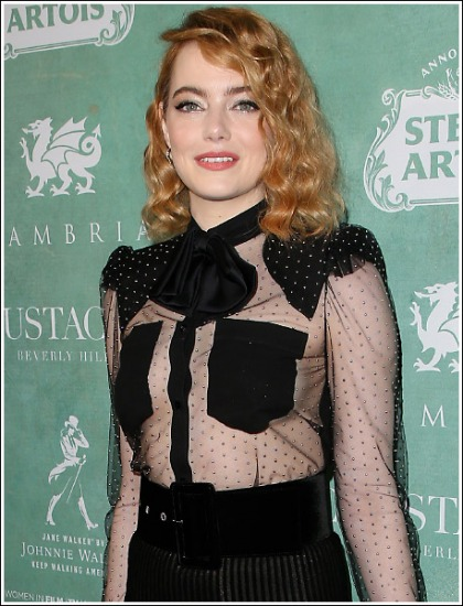 Emma Stone Flashes Some Cute Braless Bosom Action
