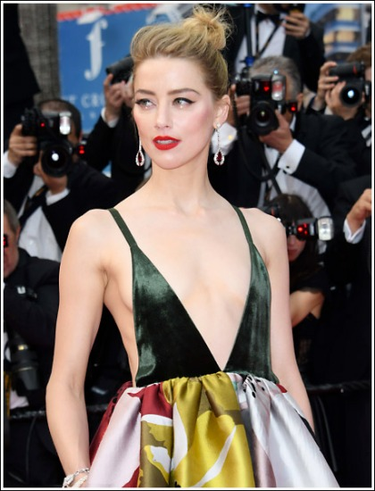 Amber Heard Busts Out All Of Her Sexy Braless Cleavage' WOW!