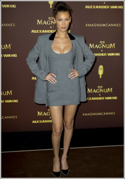 Bella Hadid Unleashes Her Perfectly-Shaped Massive Braless Cleavage And Killer Legs