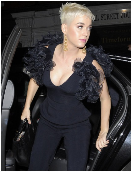 Katy Perry Exits Car, Drops A Ton Of Her Massive Super Cleavage' Literally!