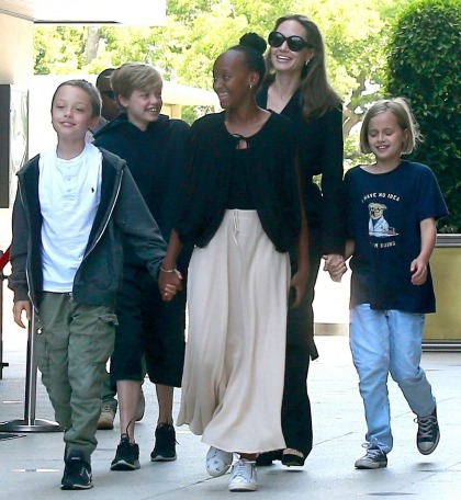 Angelina Jolie steps out to see a movie in LA with her four youngest kids