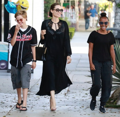 Angelina Jolie enjoys a shopping trip to Kitson with Zahara & Shiloh