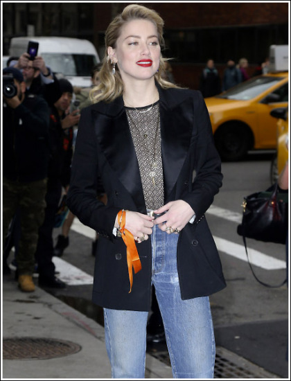 Amber Heard Goes Braless, Slips Into A Sheer Top