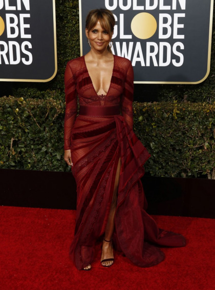Halle Berry in cranberry Zuhair Murad at The Globes, looking amazing