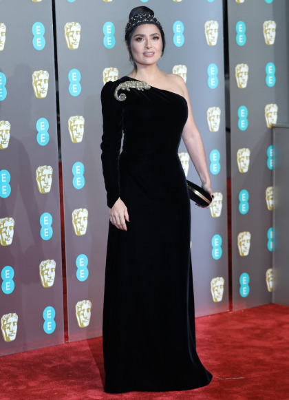 Salma Hayek in Gucci at the BAFTAs: stunning, regal or struggling?