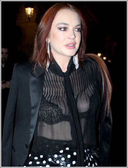 Lindsay Lohan Flashes Her Ginormous Bosom In A Sheer Top!